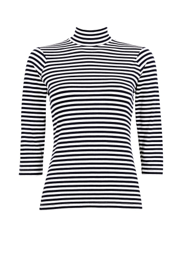Fall Winter Spring Summer_600 Stay Positive Dark Navy Stripes__Art no - 41581__699 SEK__699 NOK__550 DKK__Material - Viscose__Size - XS-L